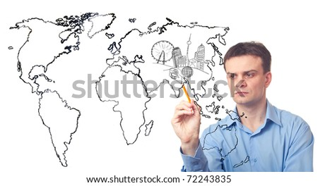 Businessman drawing a city of the future and the map of world on white background - stock photo