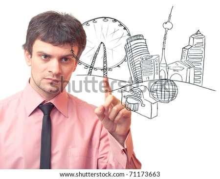 Businessman drawing a city on white background