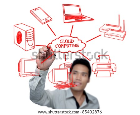 Businessman drawing a Cloud Computing schema on the whiteboard. - stock photo