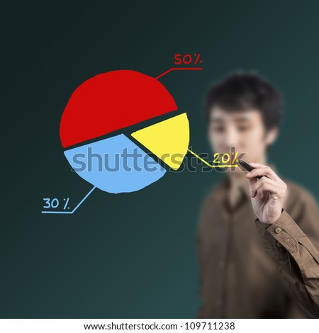 businessman drawing a colorful pie chart on whiteboard - stock photo