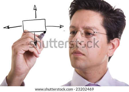 businessman drawing a flowchart for a business decision (selective focus) - stock photo