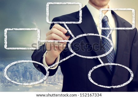 Businessman drawing a flowchat with a big city backdrop - stock photo