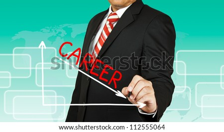 Businessman drawing a graph with Career going down