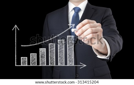 Businessman drawing a growing chart with chalk
