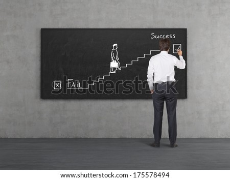 Businessman drawing a picture 'the way to success' - stock photo