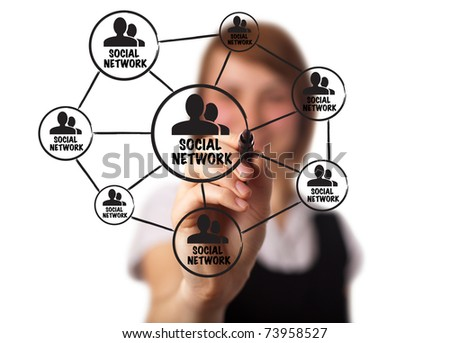 businessman drawing a social network scheme on a whiteboard (on bokeh) 2 - stock photo