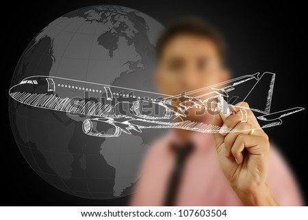 Businessman Drawing Airplane for travel around the world. - stock photo
