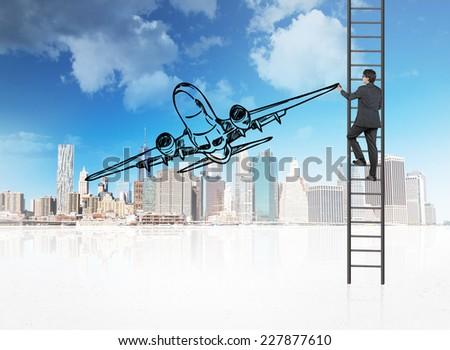 Businessman drawing airplane on the cityscape background.  - stock photo