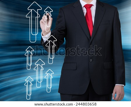 businessman drawing arrows, good result concept