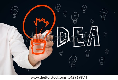 Businessman drawing big orange light bulb as the i in idea on black background with smaller light bulbs