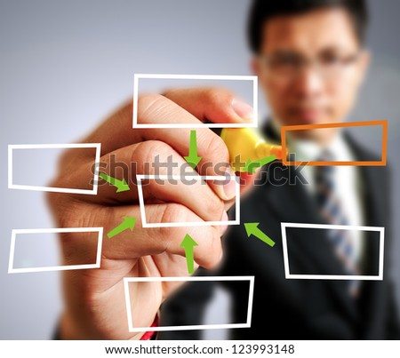 Businessman drawing Block - stock photo