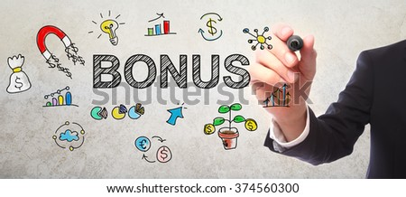 Businessman drawing Bonus concept with a marker - stock photo