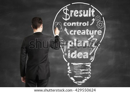 businessman drawing bulb and business concept on blackboard - stock photo