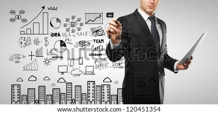 businessman drawing business concept on a white background - stock photo