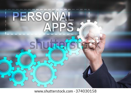 businessman drawing business concept on virtual screen. personal apps.
