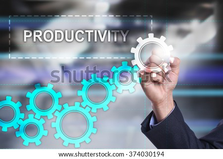 businessman drawing business concept on virtual screen. productivity. - stock photo