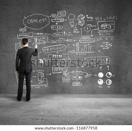 businessman drawing  business plan on wall - stock photo