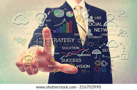 Businessman drawing business strategy concepts icons with chalk - stock photo