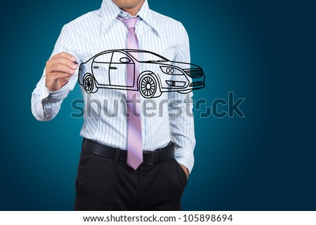 Businessman drawing car in a whiteboard. - stock photo