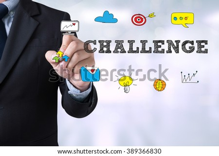 Businessman drawing Challenge on  Page concept on blurred abstract background - stock photo