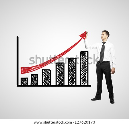businessman drawing chart on a white background