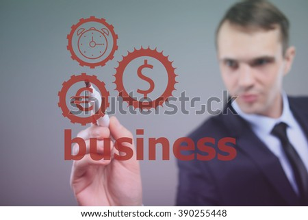 Businessman drawing clock time with dollar currency eur