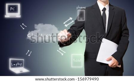 Businessman drawing cloud computing concept - stock photo