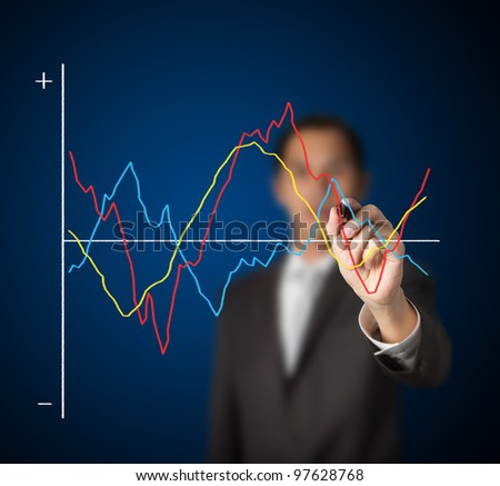 businessman drawing  comparing fluctuated graph - stock photo