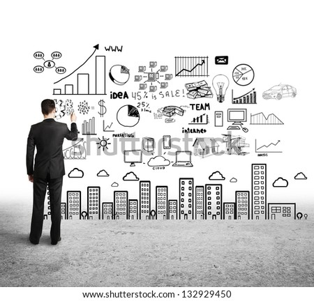 businessman drawing concept city on white background - stock photo