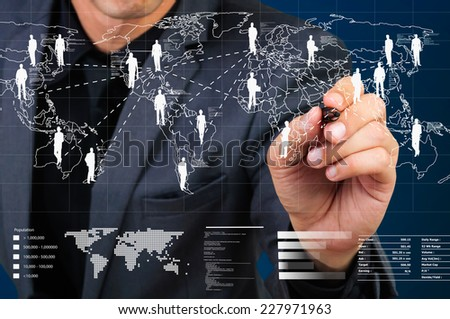 businessman drawing connection line on world map screen