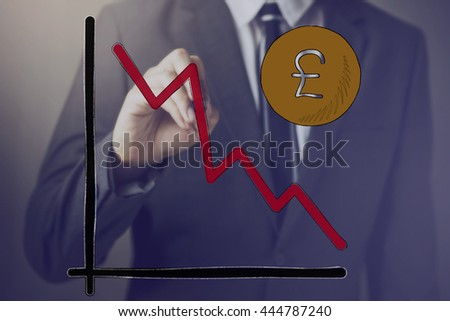 Businessman drawing diagram of Pound Sterling Currency in decline - Pound Sterling is widely used in United Kingdom - stock photo