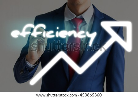 Businessman drawing EFFICIENCY and upward graph arrows forward - stock photo