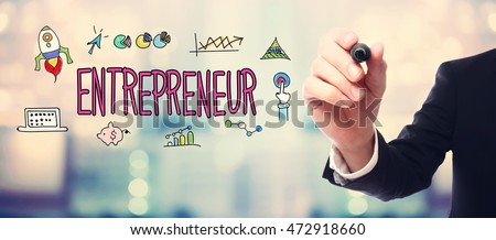 Businessman drawing Entrepreneur concept on blurred abstract background