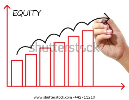 Businessman drawing EQUITY Graph on virtual screen. Business, banking, finance and investment concept.