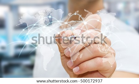 Businessman drawing global network and data exchanges with a pen 3D rendering
