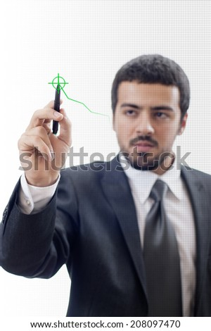 Businessman drawing graph with pen.  - stock photo