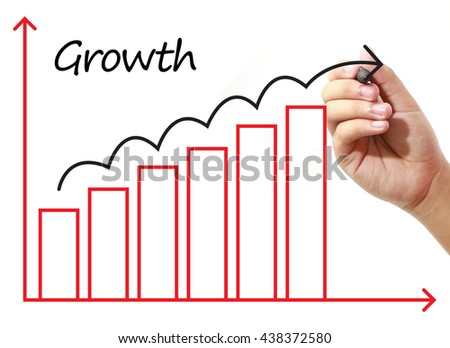 Businessman drawing Growth Graph on virtual screen. Business, banking, finance and investment concept. - stock photo