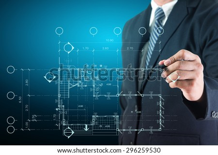 Businessman drawing home plan project design  - stock photo