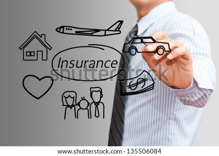 Businessman drawing Insurance concept - stock photo