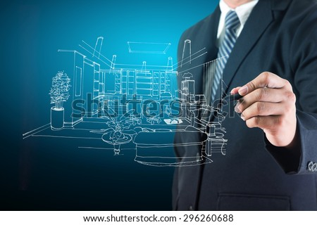 Businessman drawing interiors project design