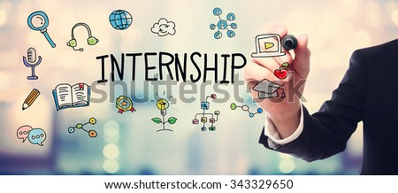Businessman drawing Internship concept on blurred abstract background  - stock photo