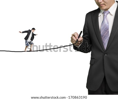 Businessman drawing line with another balancing on it in white background