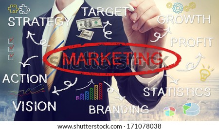 Businessman drawing marketing concept diagram with chalk - stock photo