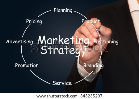 Businessman drawing Marketing Strategy diagram, business concept