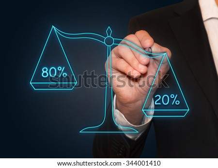 Businessman drawing 80%/20% neon scales , business concept - stock photo