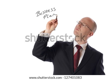 businessman drawing on copy space isolated on white