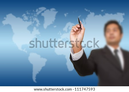 businessman drawing on  screen