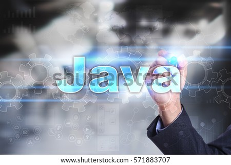 Businessman drawing on virtual screen. java concept.