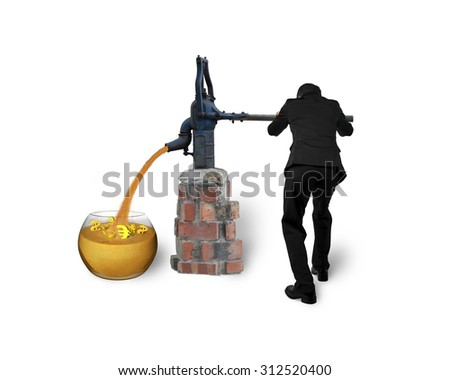 Businessman drawing out golden sand with currency symbols from retro water pump, isolated on white background.