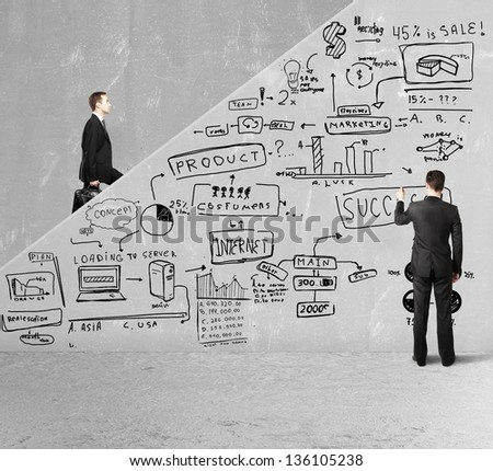 businessman drawing plan business concept on ladder - stock photo
